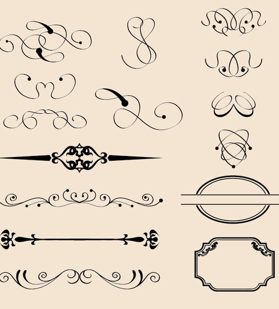 Vintage Calligraphic Decorations - vector gratuit #340203