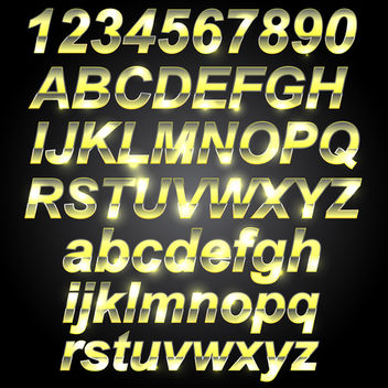 Golden Metal Font - Free vector #340703