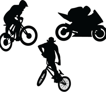 BMX Motorbike Silhouettes - Free vector #340993