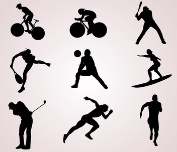 Sports Player Silhouettes - vector gratuit #341033