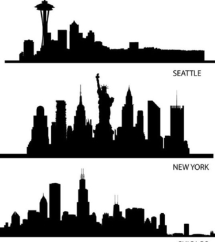 Skyline USA Silhouettes - Free vector #341103