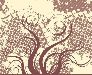 Swirling Plant Grungy Retro Background - Free vector #341423