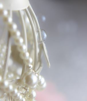 Close up of white bird cage decorated with pearls - image #341483 gratis