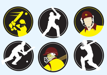 Cricket Player Icons - Free vector #341553