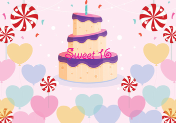Sweet 16 Birthday Vector - vector gratuit #341583