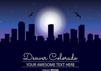 Denver Colorado Night Skyline Illustration - бесплатный vector #341643