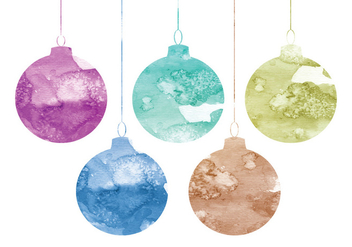 Vector Watercolor Christmas Ornaments - Free vector #341703