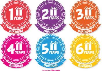 Colorful Birthday Badges - Kostenloses vector #341783