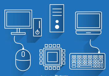 Computer White Outline Icons - vector gratuit #341913