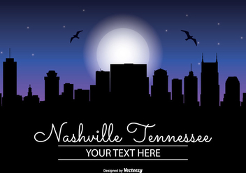 Nashville Night Skyline Illustration - vector gratuit #341933
