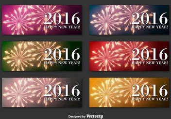 New Year 2016 Firework Banners - Free vector #342013