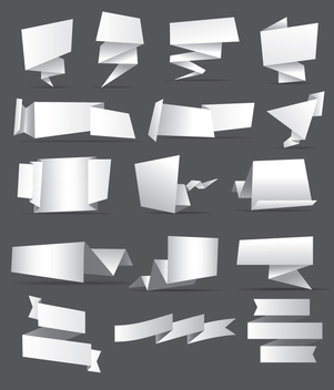 16 origami banners and ribbons - Free vector #342023