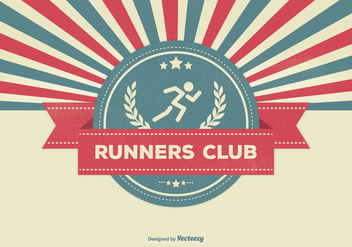 Retro Style Runners Club Illustration - vector gratuit #342253