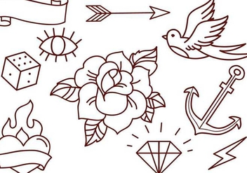 Free Old School Tattoos Vectors - Kostenloses vector #342263