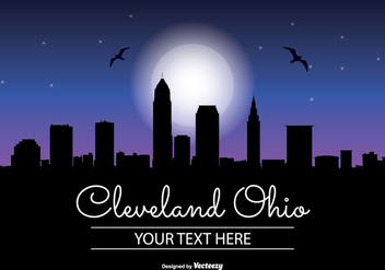 Celeveland Ohio Night Skyline Illustration - бесплатный vector #342273