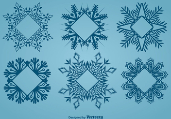 Decorative Frame Shaped Snowflake Set - Free vector #342403