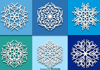 White Ornamented Snowflake Pack - Free vector #342413