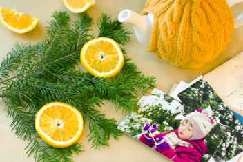 New Year's composition for holidays with photos and lemon - image gratuit #342573