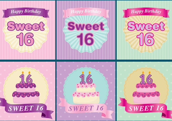 Sweet 16 Cards - vector gratuit #342623