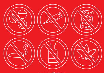 No drugs Outline Icons - vector gratuit #342643