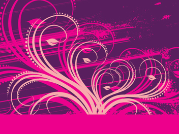 Purple Pink Floral Grungy Decoration - Free vector #342833