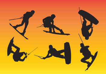 Wakeboarding Silhouette Vector - Free vector #343023