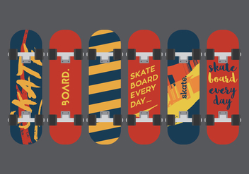 Vector Skateboard Illuustration Set - Free vector #343183