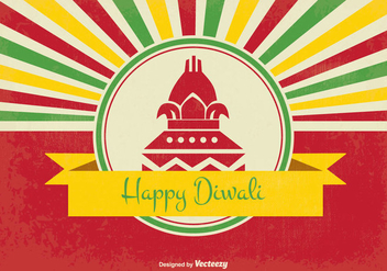 Retro Style Happy Diwali Illustration - vector gratuit #343363