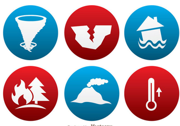Natural Disaster Circle Icons - Free vector #343393