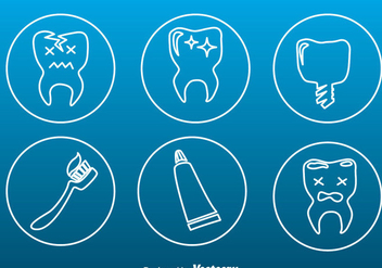Teeth Care Tin Outline Icons - бесплатный vector #343423