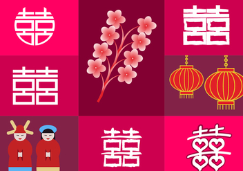 Double Happiness Elements China Illustrations - Free vector #343443