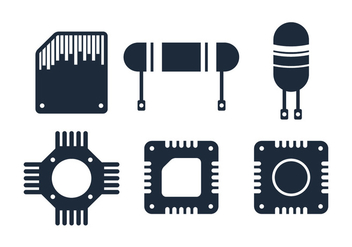 Electronics Chip Icon - Free vector #343653