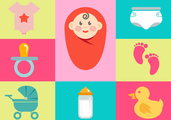 Baby Illustrations Icon Elements Vector - Kostenloses vector #343733