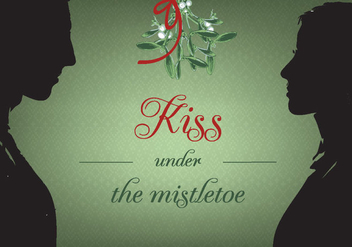 Free Kiss Under Christmas Mistletoe Vector Background - Free vector #343743