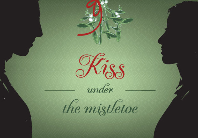 Free Kiss Under Christmas Mistletoe Vector Background - Kostenloses vector #343743
