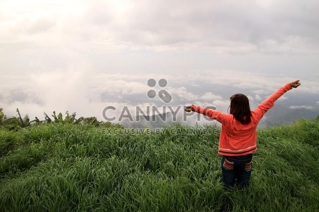 Rear view of woman in green field - Free image #344563