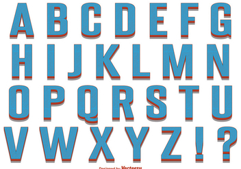 Retro Style Alphabet Set - vector #344703 gratis
