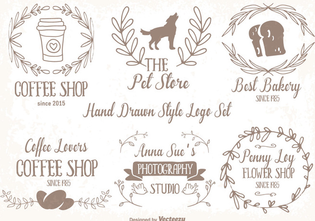 Cute Hand Drawn Style Logo Set - Kostenloses vector #344713