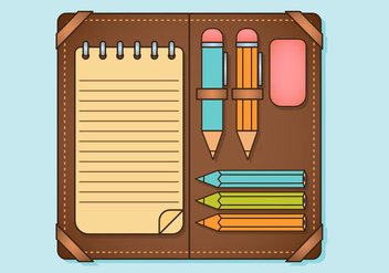 Pencil Case Elements Set - vector #344833 gratis
