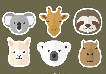 Animal Head Flat Icons - Free vector #344863