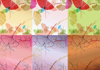 Colorful Ginkgo Background Vectors - Free vector #344873