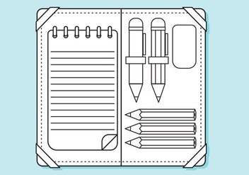 Flat Pencil Case Lines Coloring Page - бесплатный vector #344893