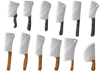 Cleaver Big Knife Vector Set - бесплатный vector #344903