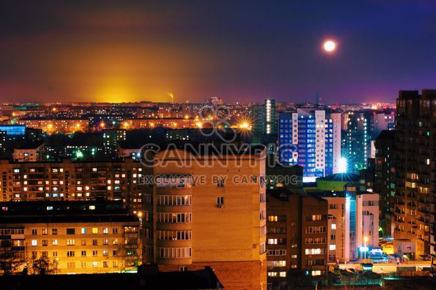 Aerial view on architecture of Chelyabinsk at night - бесплатный image #345003