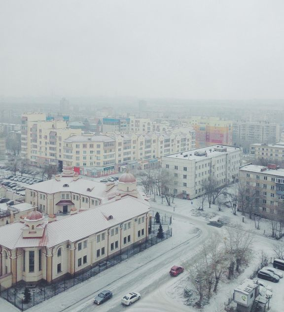 Aerial view on architecture of Chelyabinsk in winter - бесплатный image #345043
