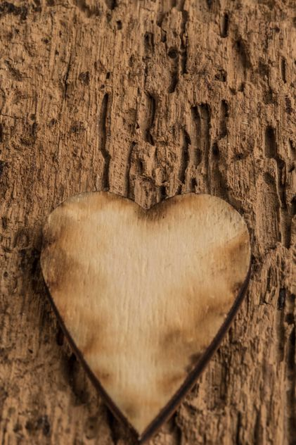 Wooden heart on wooden background - image gratuit #345093