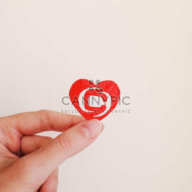 Paper heart with clashot logo in hand - бесплатный image #345103