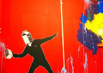 Bright graffiti on red wall - image gratuit #345113