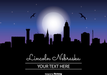 Lincoln Nebraska Night Skyline - бесплатный vector #345303