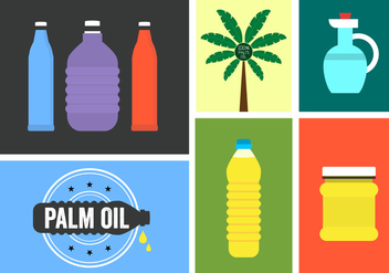 Vector Set of Palm Oil Icons - vector gratuit #345463